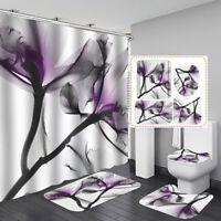 Waterproof Flower Bathroom Shower Curtain 12 Hook Bath Mat Lid Toilet Cover Rug