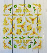 Holiday Gold Foil Holly Berry Stickers Papercraft Planner Supply Xmas DIY Crafts