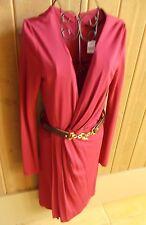 NWT Gucci Purple/ Fuchsia Rayon Long Sleeve Belted Dress Size Small