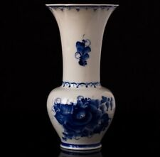 Cobalt Russian Pottery Gzhel Vase * Signed author's work