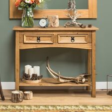 Entryway Table Hallway Console Dining Porch Side Brown Pine Wood Storage Draws