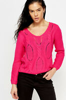 Women's Cable Knit Cropped Pink Blue Mint Long Sleeve Scoop Neck Jumper Club Top