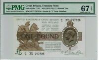 Great Britain 1 Pound Note 1922-23 Pick# 359a T31 PMG Superb GEM UNC 67 EPQ