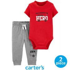 Authentic CARTER'S Baby Boy Red Firetruck Bodysuit and Gray Pants Set 12M 18M