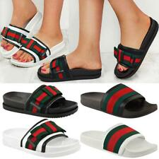 Womens Ladies Flat Striped Sliders Summer Sandals Slide Mules Comfy Slipper Size