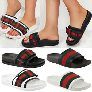 Womens Ladies Flat Striped Sliders Summer Sandals Slide Mules Comfy Slipper Size