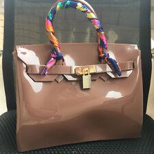 Dark Brown ! Women  Metal Buckle Candy Color PVC Jelly Handbag Plastic Tote Bag
