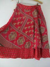 Silk blend skirt wrap layer hippy M irs impressions reddish pink
