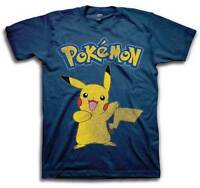 Mens Graphic Tee Pokemon Pikachu T-Shirt Adult Size Dark Navy