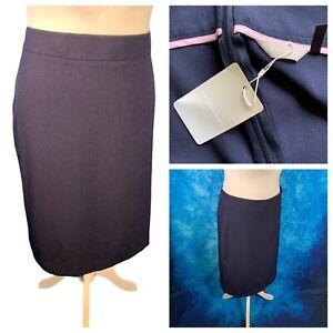 Ladies Navy Blue Skirt Size 28 ANTHOLOGY Back Zip Smart Work Straight NEW NWT
