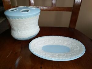LAURA ASHLEY SOAP DISH & Toothbrush Holder Matte Embossed Floral & Blue Lifestyl