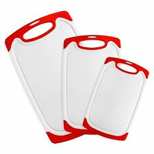 3 Piece Plastic Cutting Board Set, Includes Large, Medium and Small Size Board