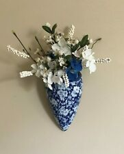 Blue & White Porcelain Wall Pocket with Silk Flowers