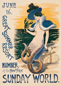 Mermaid Summer Resort 1895 Vintage Travel Poster Canvas Print 20x28