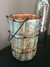 Tea Light Holder Glass & Wire Mesh Grid Design Lantern Candle Jar Hurricane