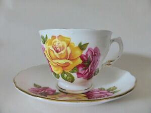 Vintage Royal Vale Roses Tea Cup and Saucer Duo, Floral Bone China, Mid Century