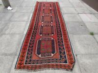 Old Traditional Hand Made Persian Oriental Wool Red Brown Long Runner 328x109cm