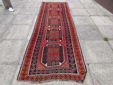 VECCHIO Fatto a Mano Tradizionale Persiano Orientale Lana Rosso Marrone Lungo Runner 328x109cm
