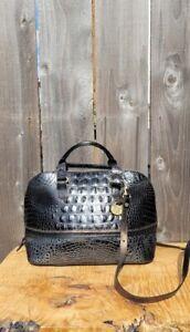 BRAHMIN VIVIA TWIGHLIGHT METALLIC/BLACK CROC LEATHER SATCHEL SHOULDER BAG