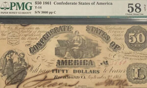 1861 $50 Obsolete Currency Confederate States Of America Choice About Un 58 NET