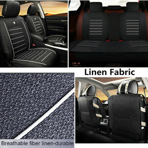 Knitted Linen Car 5-Seat Covers Low Profile Front Rear Cool Sedan Cushions Set
