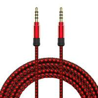 5Ft Red Braided Male to Male Aux 3.5mm Jack Stereo Audio Cable For Phone Tablet