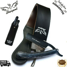 NEW BARBER SALON STRAIGHT CUT THROAT RAZOR WITH LEATHER STROP SHARPENING BELT