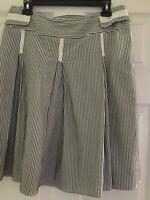 Fashionista Skirt Black & White Stripe with Pleats & Belt Size 8 Cute Free Ship