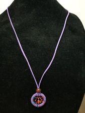 Long Necklace Faux Purple Suede Dream Catcher Pendant / Charms    Z7