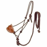 Tough-1 Brown Poly Rope Halter W/Horsehair Bronc Nose & Lead Horse Tack Equine