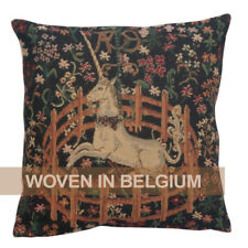 Tapestry Throw Pillow Cover 16x16 Unicorn in Captivity Medieval Woven Jacquard