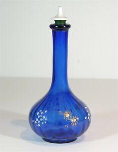 1890s ENAMEL DECORATED COBALT BLUE GLASS VICTORIAN ART GLASS BARBER BOTTLE
