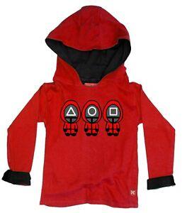 SQUID GAME KIDS CHILDRENS BOYS GIRLS HOODY HOODIE (RED)