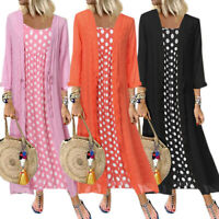 Women's Boho Maxi Dress Strappy Sleeveless Dress Cardigan Kaftan Beach 2Pcs Set