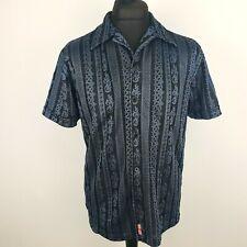 GUESS Mens Vintage Casual Shirt L LARGE Short Sleeve Blue Regular Fit