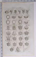 1786 Caballeros casco de impresión original heráldica corwns Mitre en cayado Duque turco