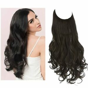 """16"""" Sarla No Clip Halo Synthetic Curly Hair Extension Hairpiece #1B Off Black"""