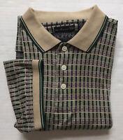 Gianfranco Ruffini Shirt Golf Polo Mercerized Cotton Sz M Tan Blue Green S/S EUC
