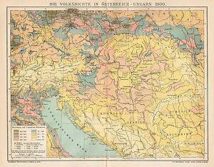 B6342 Impero Austro-Ungarico - Popolazione - Carta geografica del 1903 - Old map