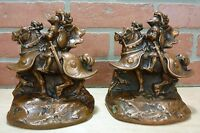 Antique Knight in Armour Horseback Bronze Clad Bookends Decorative Art Statues