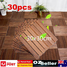 30X Wooden Plastic Composite Interlocking Decking Tiles Garden Timber Flooring