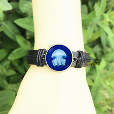 Glass Cabochon Leather Charm Bracelet Jellyfish Ocean Seashore Bangle 20 mm