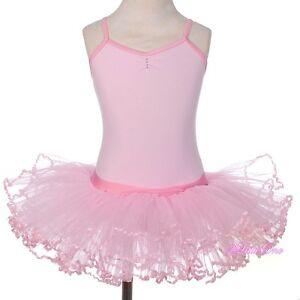Girl Diamante Ribbon Ballet Tutu Dancewear Fairy Costume Leotard Pink 3T-8 #057