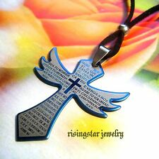Quality Stainless Steel Lustrous Blue Angel Wing Cross + Bible Pendant Necklace