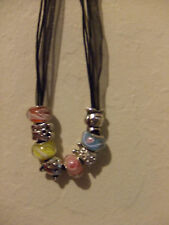 Big Bead charm Necklace w silver spacer -USA seller