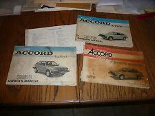 1974 1976 1978 1988 Honda Civic Accord Owner's Manuals - Lot of 4