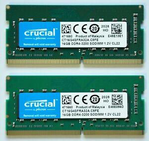 32GB 2x16GB RAM Crucial DDR4 SO-DIMM 3200MHz PC4-25600 CL22 1.2V Laptop/Mac