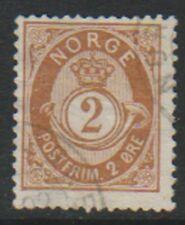 Norway - 1891, 2 ore Orange-Brown stamp - Wmk Vertical - F/U - SG 83a
