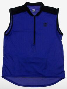 In Sport Mens Medium Cycling Shirt Sleeveless Zipper Bluish Purple Coolmax Black