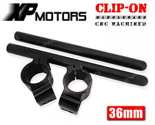 36mm CNC Motorcycle Clip-On Handlebars Universal Fits For 36mm Fork Tubes Black